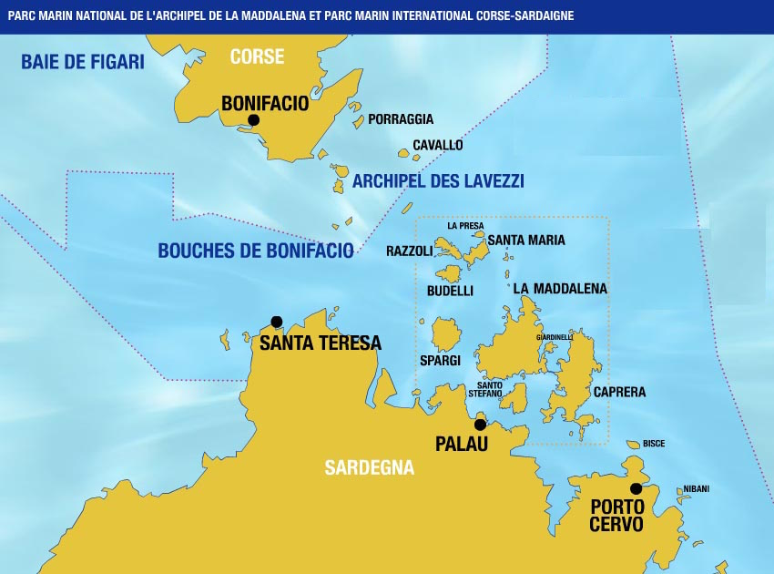cartina bocche di bonifacio vacanze in barca a vela sardegna del nord