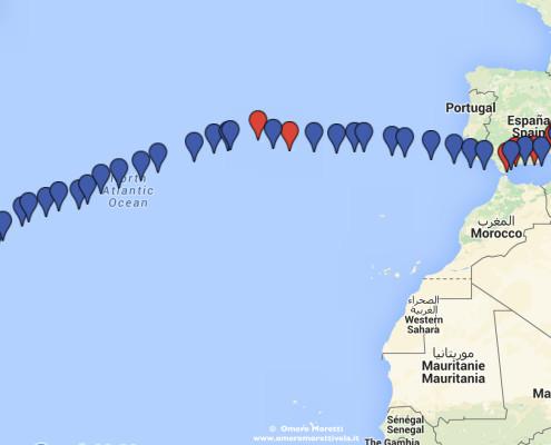rotta traversata atlantica in barca a vela ovest est