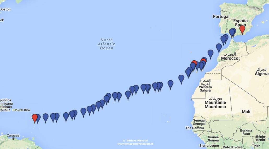 rotta traversata atlantica in barca a vela est ovest