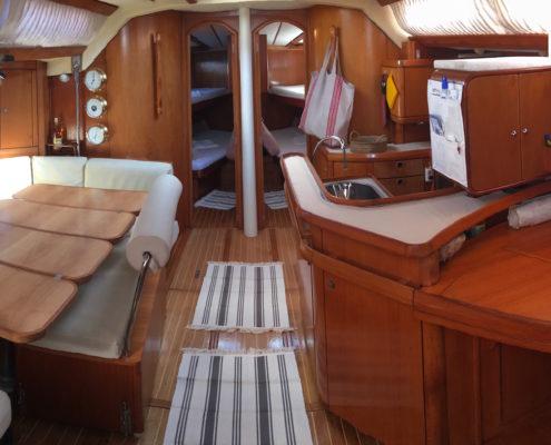 Freya barca a vela Sun Odyssey 51 interni - Dinette panoramica