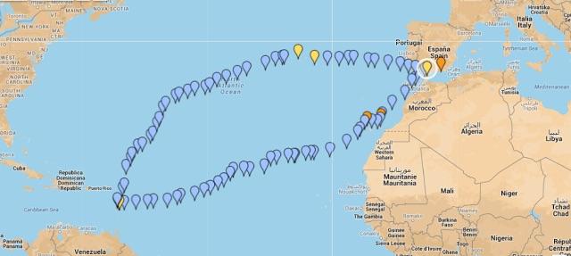 traversata atlantica rotta