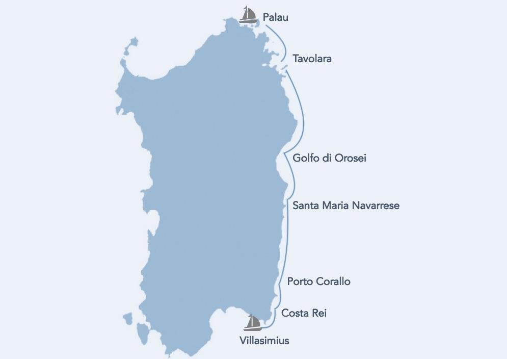 sardegna costa est in barca a vela itinerario