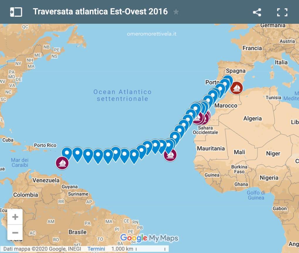 rotta traversata atlantica 2016