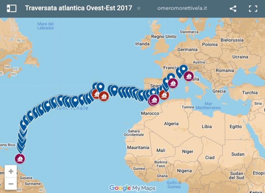 Rotta traversata atlantica ovest est 2017